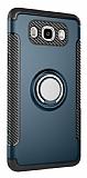 Eiroo Mage Fit Samsung Galaxy J7 2016 Standlı Ultra Koruma Lacivert Kılıf