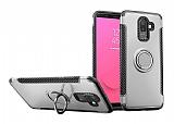 Eiroo Mage Fit Samsung Galaxy J8 Standlı Ultra Koruma Silver Kılıf
