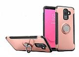 Eiroo Mage Fit Samsung Galaxy J8 Standlı Ultra Koruma Rose Gold Kılıf