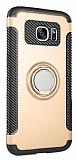 Eiroo Mage Fit Samsung Galaxy S7 Standlı Ultra Koruma Gold Kılıf