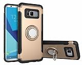 Eiroo Mage Fit Samsung Galaxy S8 Plus Standlı Ultra Koruma Gold Kılıf