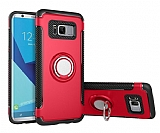 Eiroo Mage Fit Samsung Galaxy S8 Plus Standlı Ultra Koruma Kırmızı Kılıf