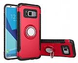 Eiroo Mage Fit Samsung Galaxy S8 Standlı Ultra Koruma Kırmızı Kılıf