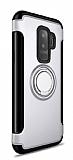 Eiroo Mage Fit Samsung Galaxy S9 Plus Standlı Ultra Koruma Silver Kılıf