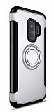 Eiroo Mage Fit Samsung Galaxy S9 Standlı Ultra Koruma Silver Kılıf