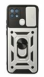 Eiroo Magnet Lens Oppo A15 / A15s Ultra Koruma Silver Kılıf