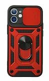 Eiroo Magnet Lens iPhone 12 Mini 5.4 inç Ultra Koruma Kırmızı Kılıf