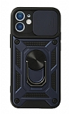 Eiroo Magnet Lens iPhone 12 Mini 5.4 inç Ultra Koruma Lacivert Kılıf