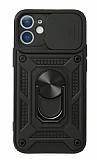 Eiroo Magnet Lens iPhone 12 Mini 5.4 inç Ultra Koruma Siyah Kılıf