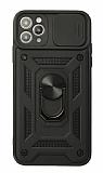 Eiroo Magnet Lens iPhone 12 Pro Max 6.7 inç Ultra Koruma Siyah Kılıf