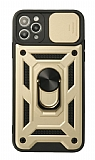 Eiroo Magnet Lens iPhone 12 Pro Max 6.7 inç Ultra Koruma Gold Kılıf