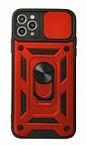 Eiroo Magnet Lens iPhone 12 Pro Max 6.7 inç Ultra Koruma Kırmızı Kılıf