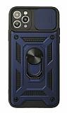 Eiroo Magnet Lens iPhone 12 Pro Max 6.7 inç Ultra Koruma Lacivert Kılıf