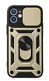 Eiroo Magnet Lens iPhone 12 / 12 Pro 6.1 inç Ultra Koruma Gold Kılıf