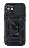 Eiroo Magnet Lens iPhone 12 / 12 Pro 6.1 inç Ultra Koruma Lacivert Kılıf