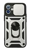 Eiroo Magnet Lens iPhone 12 / 12 Pro 6.1 inç Ultra Koruma Silver Kılıf
