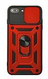 Eiroo Magnet Lens iPhone 7 Plus / 8 Plus Ultra Koruma Kırmızı Kılıf