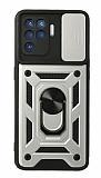 Eiroo Magnet Lens Oppo A94 Ultra Koruma Silver Kılıf