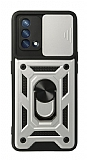 Eiroo Magnet Lens Oppo F19 Ultra Koruma Silver Kılıf