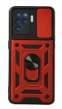 Eiroo Magnet Lens Oppo Reno5 F Ultra Koruma Kırmızı Kılıf
