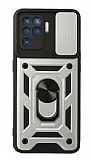 Eiroo Magnet Lens Oppo Reno5 F Ultra Koruma Silver Kılıf