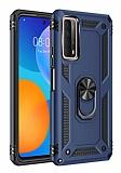 Eiroo Magnet Ring Huawei P Smart 2021 Ultra Koruma Lacivert Kılıf