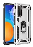Eiroo Magnet Ring Huawei P Smart 2021 Ultra Koruma Silver Kılıf
