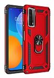 Eiroo Magnet Ring Huawei P Smart 2021 Ultra Koruma Kırmızı Kılıf
