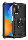 Eiroo Magnet Ring Huawei P Smart 2021 Ultra Koruma Siyah Kılıf