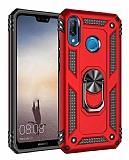 Eiroo Magnet Ring Huawei P20 Lite Ultra Koruma Kırmızı Kılıf