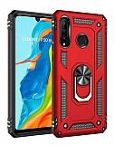 Eiroo Magnet Ring Huawei P30 Lite Ultra Koruma Kırmızı Kılıf