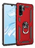 Eiroo Magnet Ring Huawei P30 Pro Ultra Koruma Kırmızı Kılıf