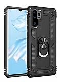 Eiroo Magnet Ring Huawei P30 Pro Ultra Koruma Siyah Kılıf