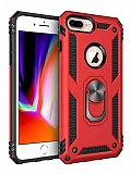 Eiroo Magnet Ring iPhone 7 Plus / 8 Plus Ultra Koruma Kırmızı Kılıf