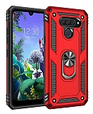 Eiroo Magnet Ring LG Q60 Ultra Koruma Kırmızı Kılıf