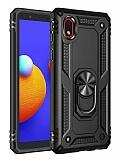 Eiroo Magnet Ring Samsung Galaxy A01 Core Ultra Koruma Siyah Kılıf