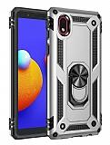 Eiroo Magnet Ring Samsung Galaxy A01 Core Ultra Koruma Silver Kılıf