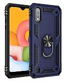 Eiroo Magnet Ring Samsung Galaxy A01 Ultra Koruma Lacivert Kılıf