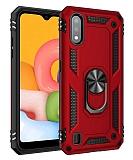 Eiroo Magnet Ring Samsung Galaxy A01 Ultra Koruma Kırmızı Kılıf