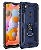 Eiroo Magnet Ring Samsung Galaxy A11 Ultra Koruma Lacivert Kılıf