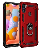 Eiroo Magnet Ring Samsung Galaxy A11 Ultra Koruma Kırmızı Kılıf