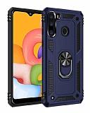 Eiroo Magnet Ring Samsung Galaxy A21 Ultra Koruma Lacivert Kılıf