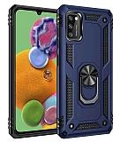 Eiroo Magnet Ring Samsung Galaxy A41 Ultra Koruma Lacivert Kılıf