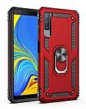 Eiroo Magnet Ring Samsung Galaxy A7 2018 Ultra Koruma Kırmızı Kılıf