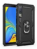 Eiroo Magnet Ring Samsung Galaxy A7 2018 Ultra Koruma Siyah Kılıf