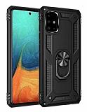 Eiroo Magnet Ring Samsung Galaxy A71 Ultra Koruma Siyah Kılıf