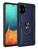 Eiroo Magnet Ring Samsung Galaxy A71 Ultra Koruma Lacivert Kılıf