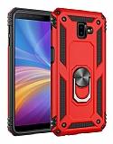 Eiroo Magnet Ring Samsung Galaxy J6 Plus Ultra Koruma Kırmızı Kılıf