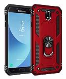 Eiroo Magnet Ring Samsung Galaxy J7 Pro 2017 Ultra Koruma Kırmızı Kılıf