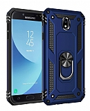 Eiroo Magnet Ring Samsung Galaxy J7 Pro 2017 Ultra Koruma Lacivert Kılıf